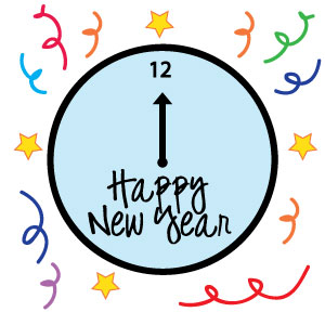 New Years Clock Clipart