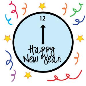 New Years Clock Clipart