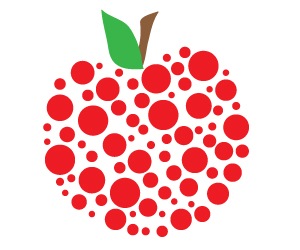 polka dot apple clipart
